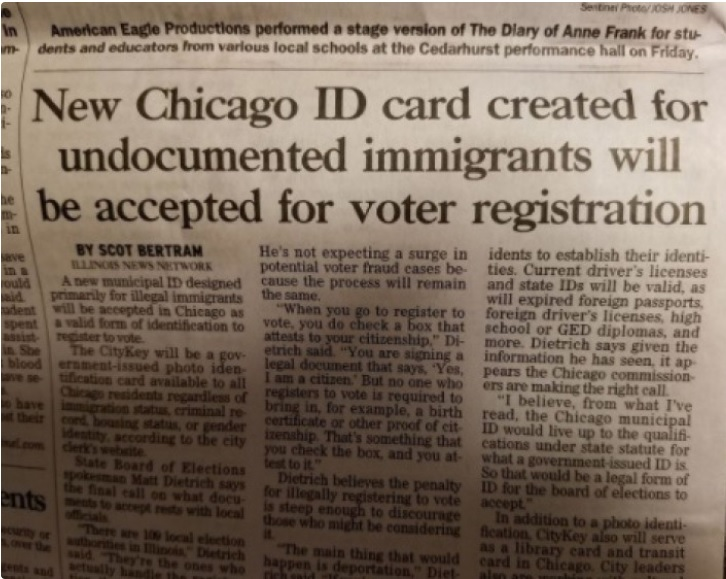 News Paper Reporting On Illegal Immigrants Voting In Chicago